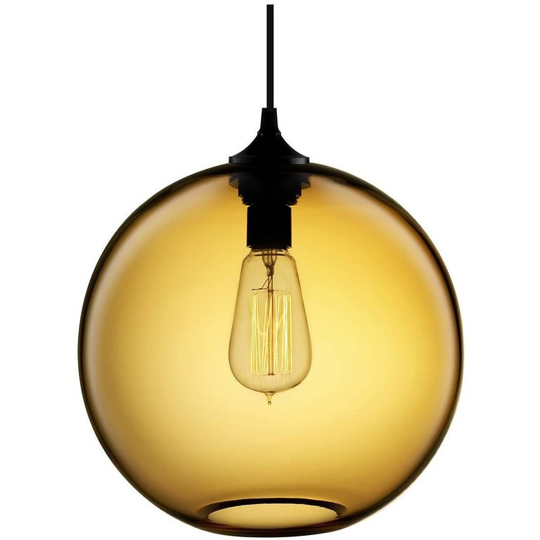 Solitaire Amber Handblown Modern Glass Pendant Light, Made in the USA 1