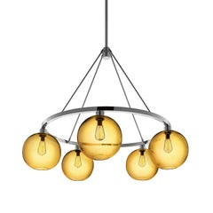 Solitaire Amber Handblown Modern Glass Polished Nickel Chandelier Light