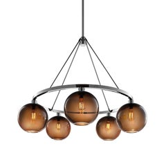 Solitaire Chocolate Handblown Modern Glass Polished Nickel Chandelier Light, Mad