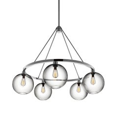 Solitaire Crystal Handblown Modern Glass Polished Nickel Chandelier Light
