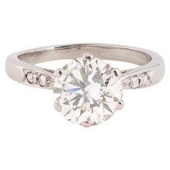 Solitaire Diamond 1.96 Carat I/SI2 Certified LFG 18 Carat White Gold Ring