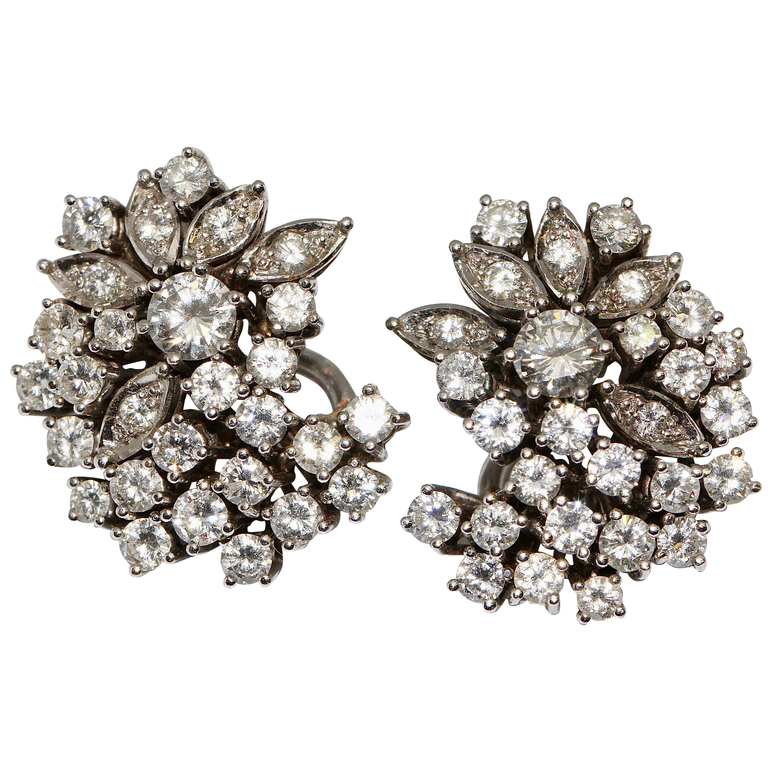 Solitaire Diamond Earrings, Clips, 14 Karat White Gold, Total Almost 4 Carat