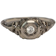 Solitaire Diamond White Gold Filigree Carved Engagement Ring