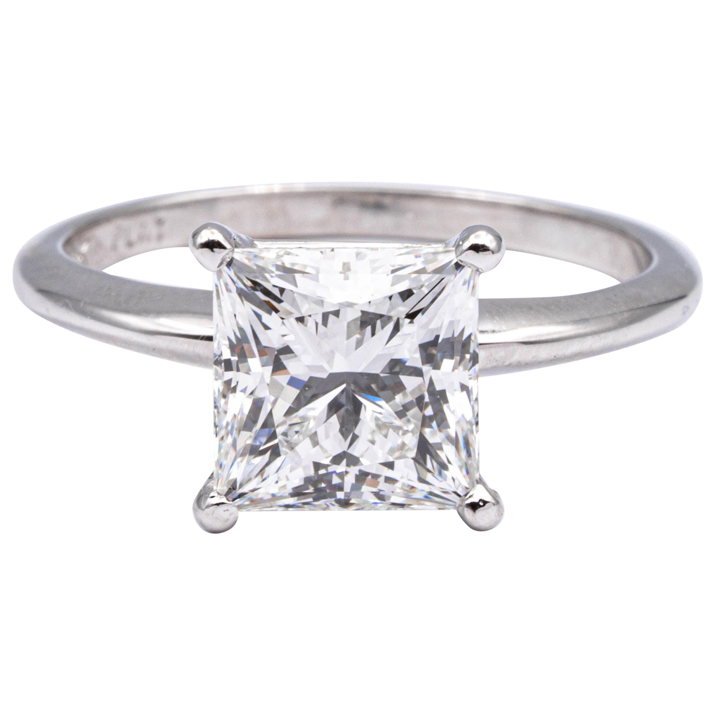 2.82 Ct. Princess Cut Diamond Engagement GIA H VS1 Platinum Solitaire Ex Cut