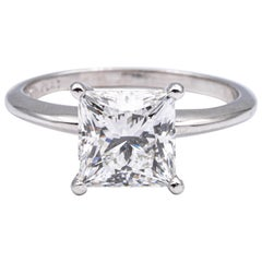 2.82 Ct. Princess Cut Diamond Engagement GIA H VS1 Platinum Solitaire Ex Cut