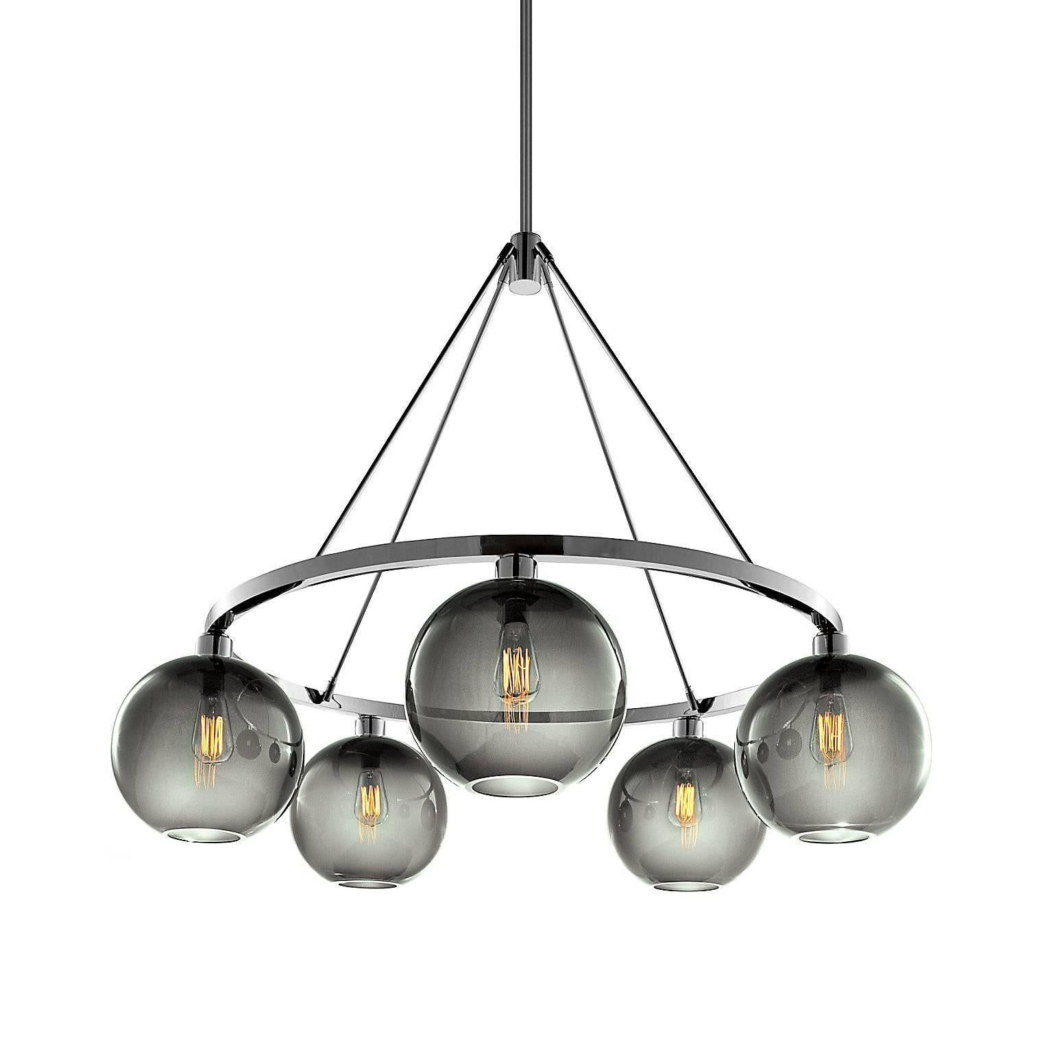 Solitaire Gray Handblown Modern Glass Polished Nickel Chandelier Light, Made in
