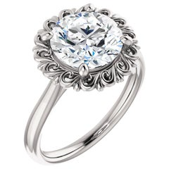 Solitaire Halo Vintage Inspired Round Cut Diamond GIA Certified Engagement Ring