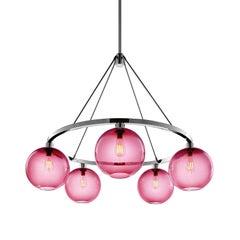 Solitaire Rose Handblown Modern Glass Polished Nickel Chandelier Light
