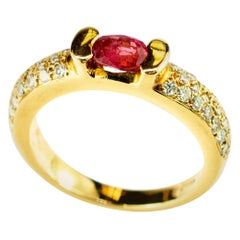 Solitaire Ruby Diamonds 18 Karat Yellow Gold Cabochon Cocktail Legacy Love Ring