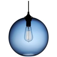 Solitaire Sapphire Handblown Modern Glass Pendant Light, Made in the USA