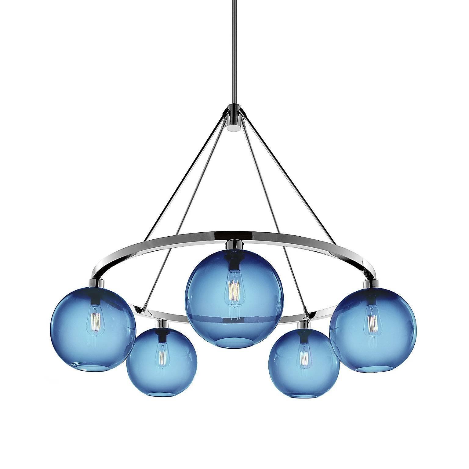 Solitaire Sapphire Handblown Modern Glass Polished Nickel Chandelier Light