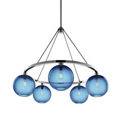 Solitaire Sapphire Handblown Modern Glass Polished Nickel Chandelier Light