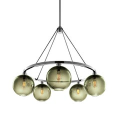 Solitaire Smoke Handblown Modern Glass Polished Nickel Chandelier Light