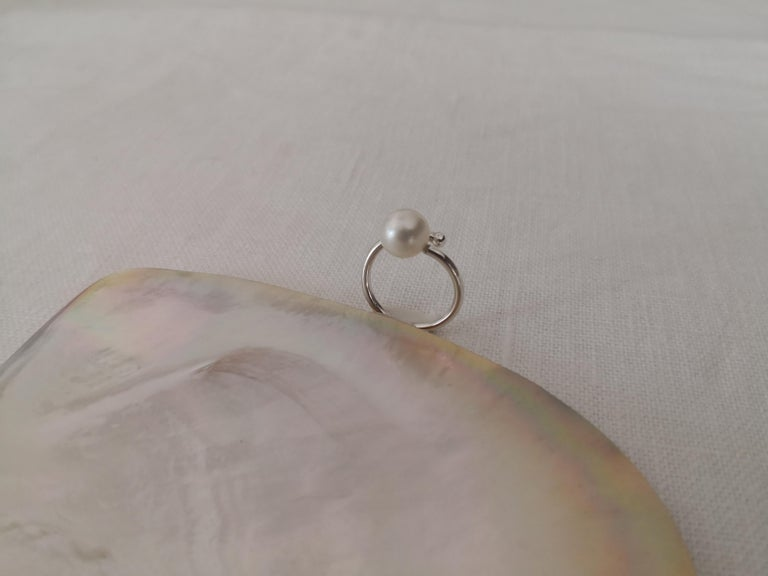 Women's Solitaire South Sea Pearl Ring White Color For Sale