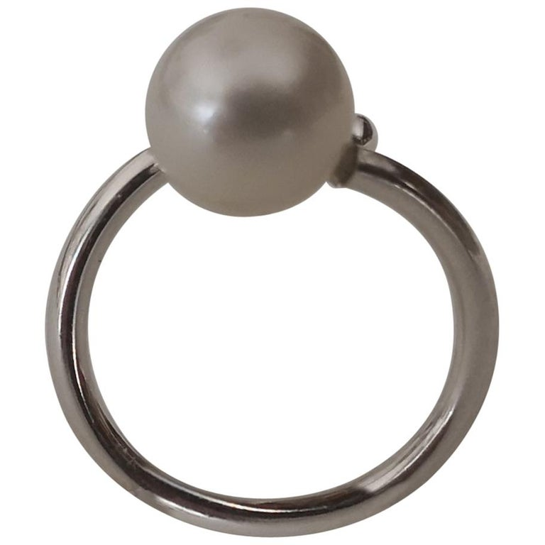 Solitaire South Sea Pearl Ring White Color For Sale