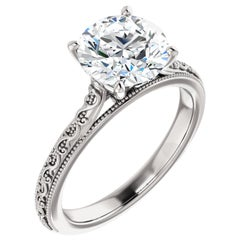Solitaire Vintage Inspired Filigree Deco GIA Round Cut Diamond Engagement Ring