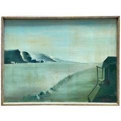 """Solitude"" Surrealist Landscape Painting Signed R. Hirschfeld"