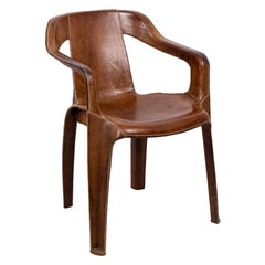 Sol&Luna, Armchair in Brown Leather, Contemporary Work