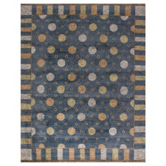 Solna Swedish Inspired Pile Navy Blue, Gray and Beige Hand Knotted Wool Rug