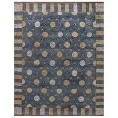 Solna Swedish Inspired Pile Navy Blue, Gray and Beige Rug