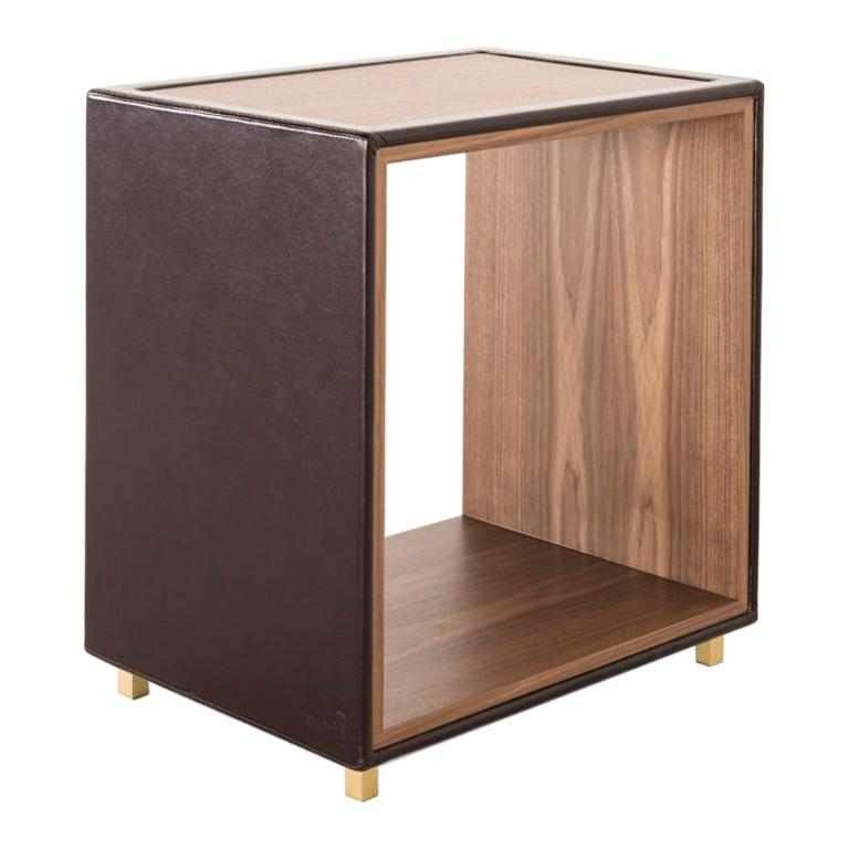 Solo, Contemporary Side Table in Leather and Canaletto Walnut with Brass Legs