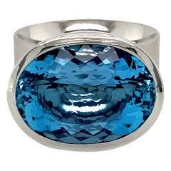 Georg Spreng - Solo Ring Platinum 950 Blue Aquamarine Santa Maria Brazil natural