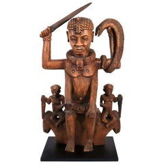 Wood sculpture of a tribal West African Deity Mami Wata derived from Hinduism