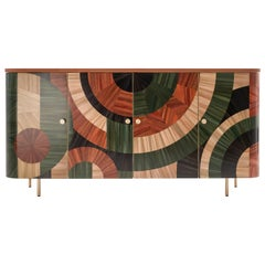 Solomia Straw Marquetry Art Deco Wood Cabinet Green Orange Black by RUDA Studio