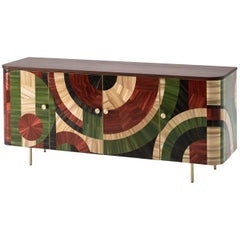 Solomia Straw Marquetry Art Deco Wood Cabinet Green Red Black by RUDA Studio