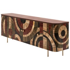 Solomia Straw Marquetry Art Deco Wood Cabinet Red Wine Olive Black, RUDA Studio