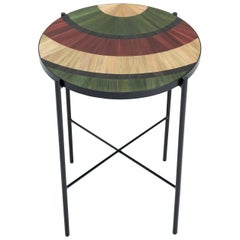 Solomia Straw Marquetry Circle Bed Table Green Red Black Natural  by RUDA Studio