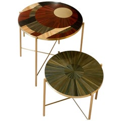 Solomia Straw Marquetry Coffee Tables Set Red Wine Olive Black  by RUDA Studio