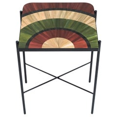 Solomia Straw Marquetry Rectangular Bed Table Green Red Black by RUDA Studio