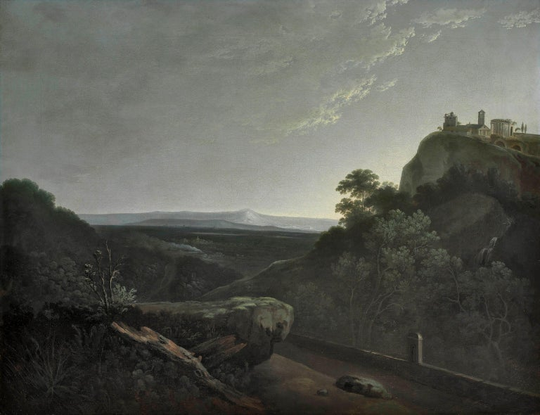 """Solomon Delane c.1727-1812 A view near Tivoli at Dawn Oil painting on canvas 28 x 36 inches, and contained in a fine carved and giltwood Georgian frame  Exhibited (presumably), Royal Academy, 1777, number 94, """"A view near Tivoli"""", sent for"""