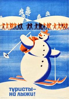 Original Vintage Soviet Poster Go Skiing Winter Sport Travel USSR Snowman Design