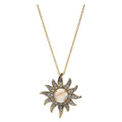 Solstice Diamond and Moonstone Pendant, 18 Karat Yellow Gold
