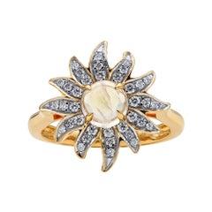 Solstice Diamond and Moonstone Ring, 18 Karat Yellow Gold