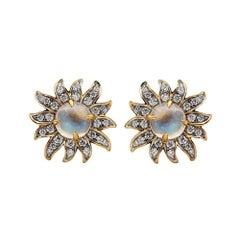 Solstice Diamond and Moonstone Stud Earrings, 18 Karat Yellow Gold