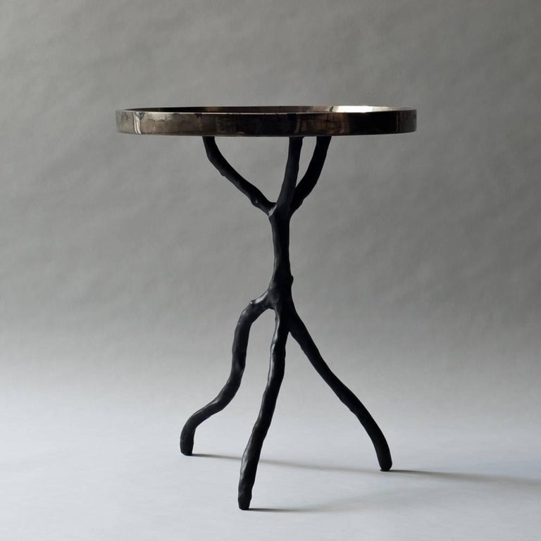 Organic Modern Solstice Side Table in Golden Pyrite with Black Resin Base For Sale