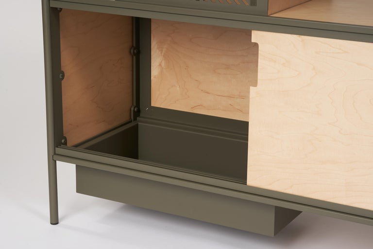 Canadian Soma Shelf with Grey-Tinted Glass, Lower Storage and Powder Coated Frame For Sale