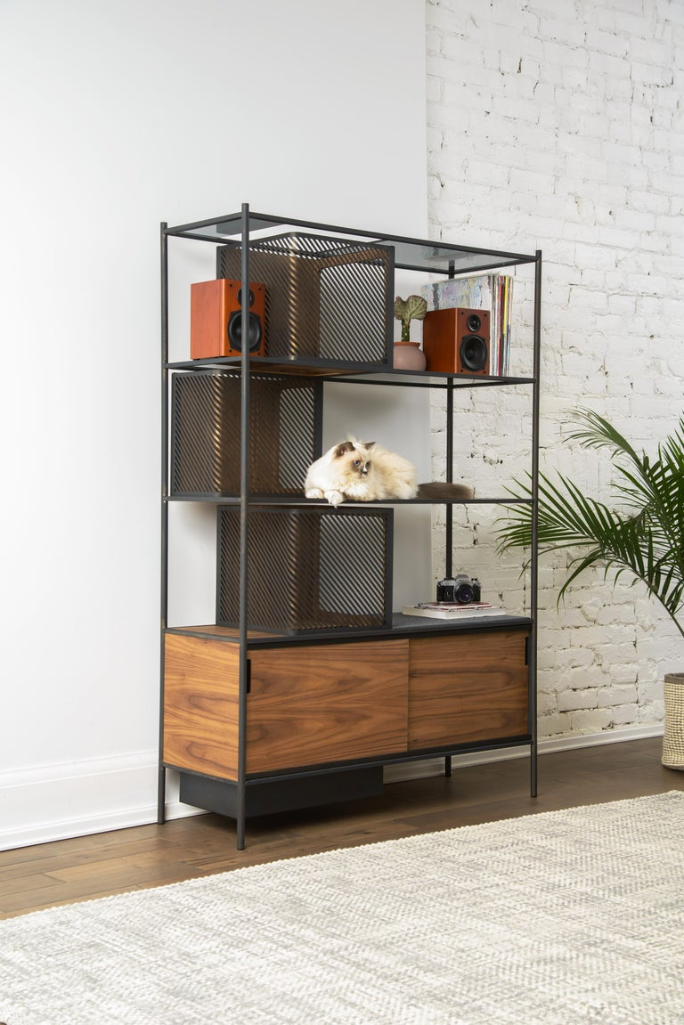 Soma Shelf with Grey-Tinted Glass, Lower Storage and Powder Coated Frame In New Condition For Sale In Woodbridge, Ontario