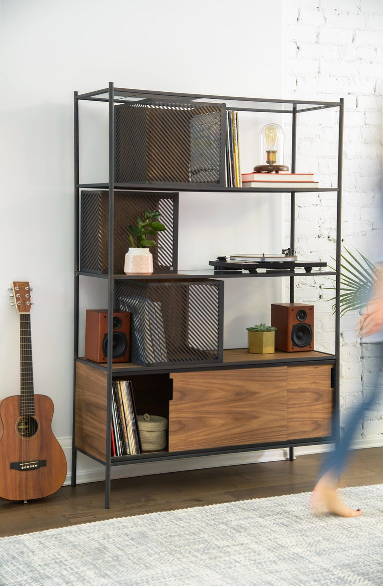Contemporary Soma Shelf with Grey-Tinted Glass, Lower Storage and Powder Coated Frame For Sale