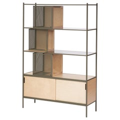 Soma Shelf with Grey-Tinted Glass, Lower Storage and Powder Coated Frame