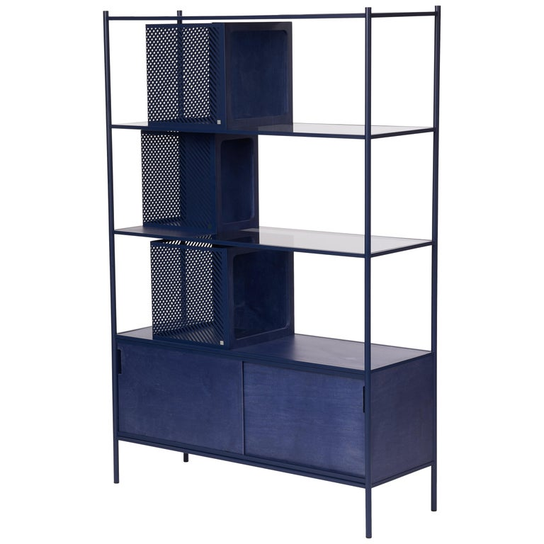 Soma Shelf with Grey-Tinted Glass, Lower Storage and Powder Coated Frame For Sale