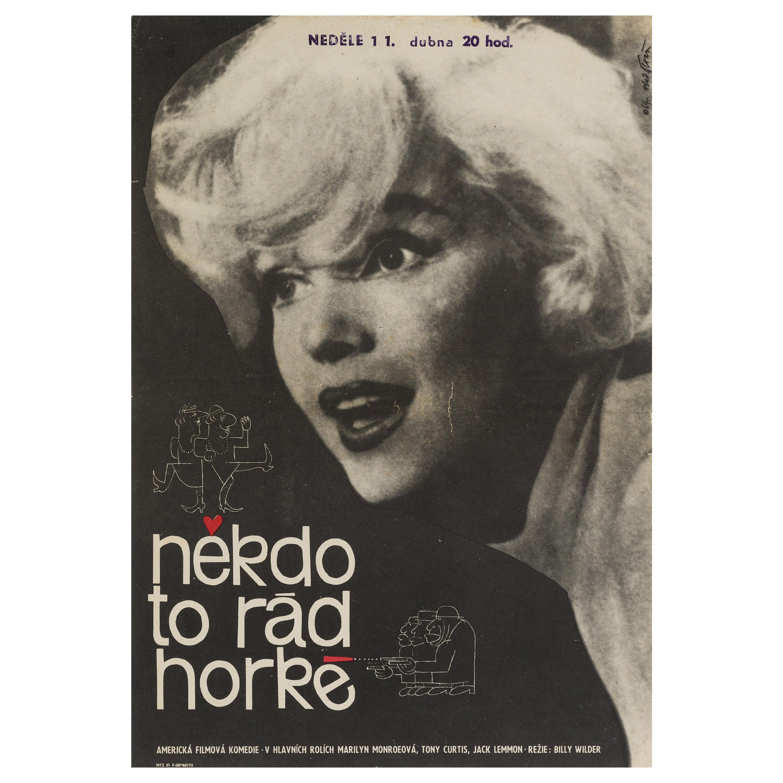 Some Like It Hot, Original Czech Film Movie Poster, 1964 Vintage Rare, Tesař