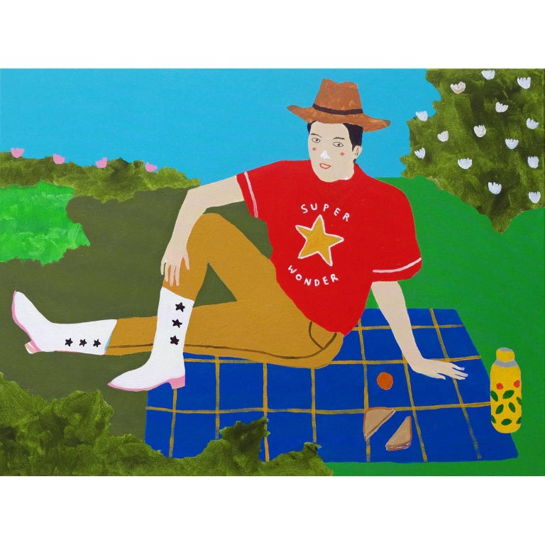 'Some Me Time' Portrait Painting by Alan Fears Pop Art Picnic For Sale