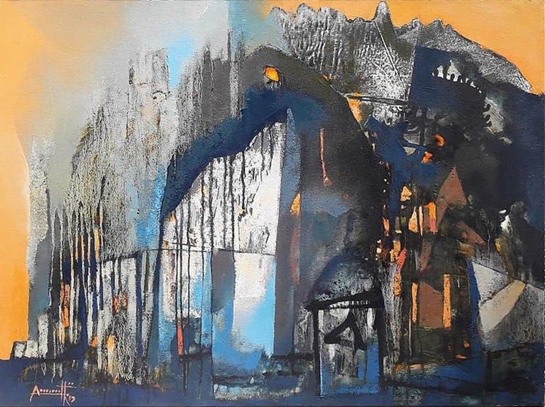 """Somenath Maity Abstract Painting - Structure, Acrylic on canvas, Blue, Brown, Yellow, Contemporary Artist""""In Stock"""""""