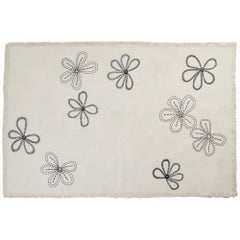 SOMERSET S. Hand Embroidered Off-White Throw Blanket