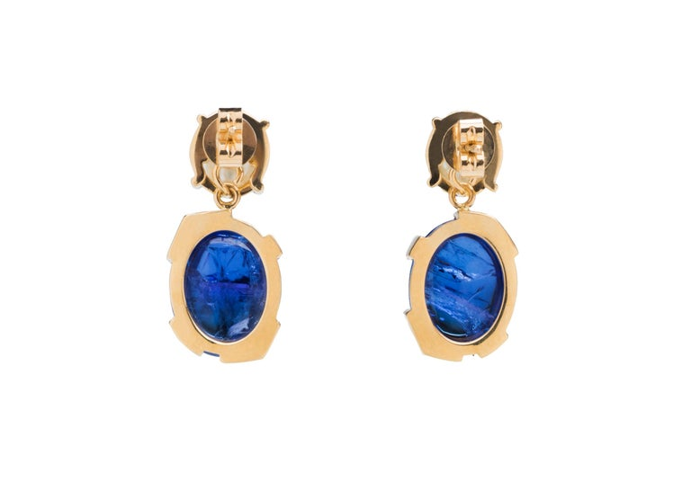 Artisan Something Blue Keshi Pearl and Fine Tanzanite 18 Karat Gold Detachable Earrings For Sale