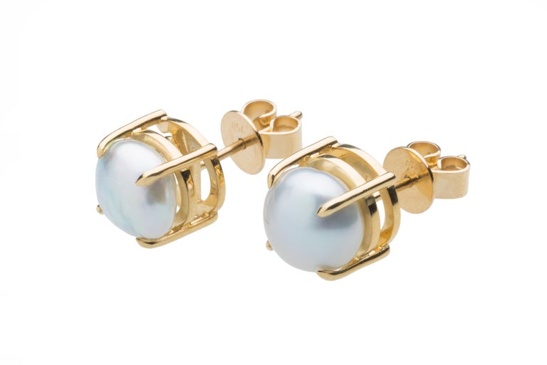 Oval Cut Something Blue Keshi Pearl and Fine Tanzanite 18 Karat Gold Detachable Earrings For Sale